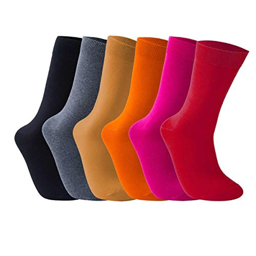 Vkele Bunt Socken (Dunkelgelb & Orange & Pink & Rot & Grau & Schwarz), 6 Paar 43-46 - Pink Schwarz Karo