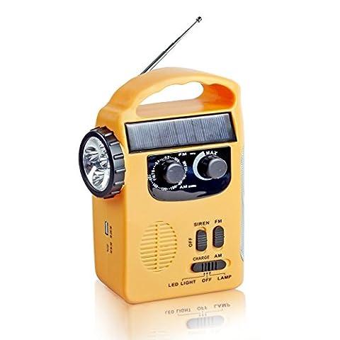 Semlos Solar Wind up Rechargeable Radio Emergency LED Flashlight with AM/FM Weather Radio and 65lumens Emergency Lamp