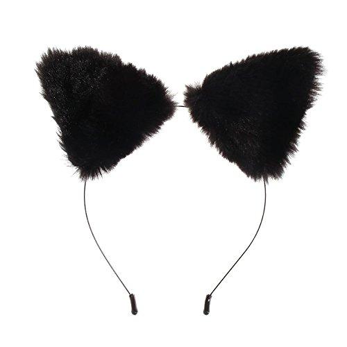 Coogel Fashion Girl''s Cute Cat Fox Ears Fur Headband Party Costume Anime Cosplay (Black)