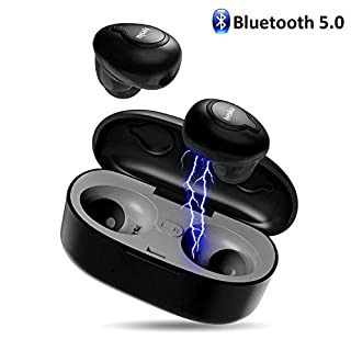 Wireless Bluetooth Earphones, iyesku True Wireless Headphones with 15H Playtime 3D Stereo Sound Bluetooth Headphones with Charging Box Built-in Mic Mini Earphones Sports Headset (Upgrade)