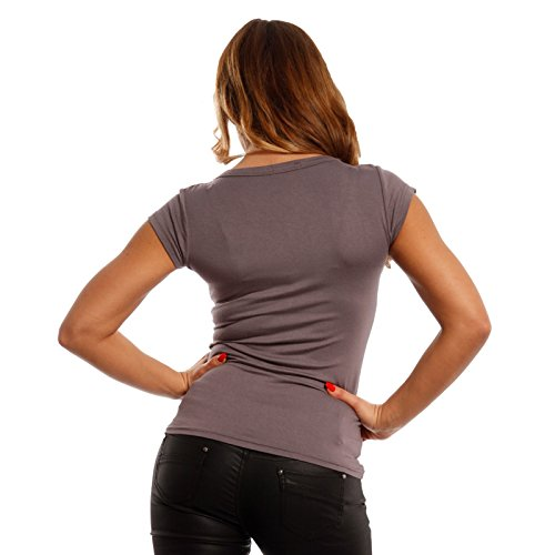 Young-Fashion Damen Basic Shirt T-Shirt U-Neck Soft Schlamm