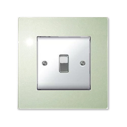 SINGLE LIGHT SWITCH SOCKET COLOURED ACRYLIC SURROUND FINGER PLATE - BUY 2 GET EXTRA 1 FREE (10 COLOURS) (Green Tint / Glass Effect) by Focus Plastics