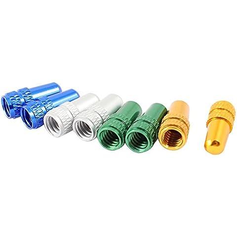 sourcingmap® Tappini colorati per valvole presta per pneumatici bicicletta (8 pezzi) a vite