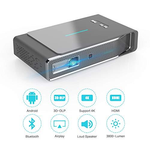 TOUMEI LED Beamer, 3800 Lumens Projektor 1280x800 Aktives 3D DLP-Link Support 1080P Full HD Android Smart mit HDMI WiFi Bildschirm Teilen Kostenlose 3D-Brille grau