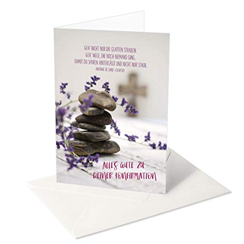 Grußkarte/Glückwunschkarte zur Konfirmation/Alles Gute/Steine - Lavendel