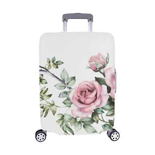 (Nur abdecken) Isolierte Grenze Rosa Blumen Staubschutz Trolley Protector case Reisegepäck Beschützer Koffer Abdeckung 28,5 X 20,5 Zoll Blume Grenze