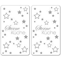Wenko 2521491500 Herdabdeckplatte Universal Sterneküche 2er Set, für Alle Herdarten, Glas, weiß