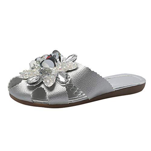 Billige Sandalen für Damen/Dorical Frauen Sommer Flach Hausschuhe Badeschuhe Rhinestones Flip Flops Mode Schuhe Rutschfeste Casual Flach Strand Slippers für Mutter(Silber,39 EU)
