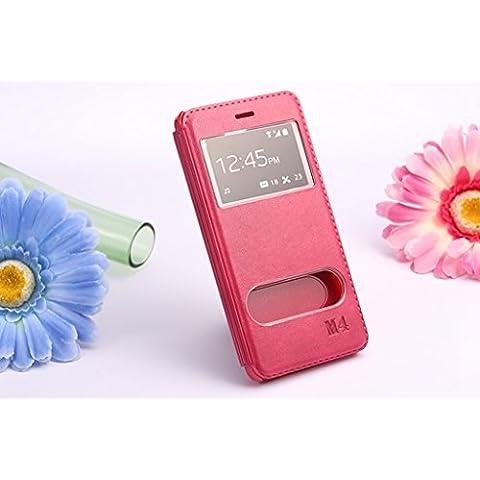 Casefashion® Funda de Piel con Soporte Ventana para Xiaomi Mi 4 Carcasa Protectora Case Cover PU Cuero