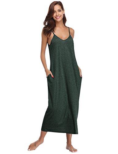 Aibrou Damen Baumwolle Lose Lange Nachthemd mit Verstellbare Träger Dunkelgrün XL - Sommer Nachthemd