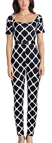 La Vogue Combinaison Femme Jumpsuit Épaule Nu Pantalon Noir Carreau