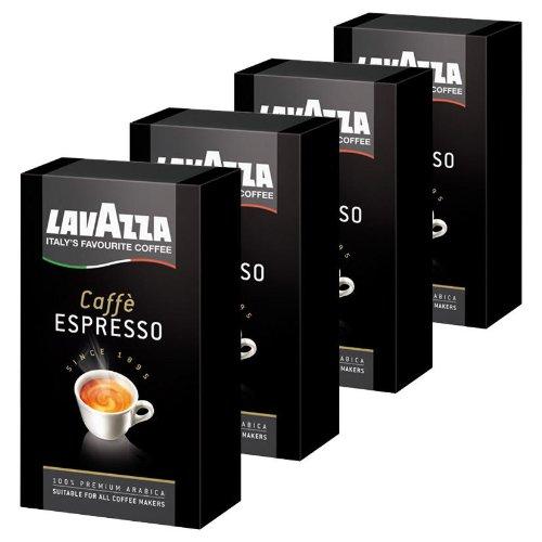 Lavazza Caffè Espresso, gemahlen, Kaffee geeignet für Siebträgermaschinen, 4er Pack, 4 x 250g