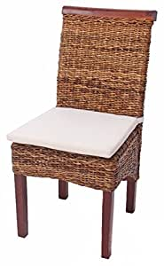 Set 2x sedie M45 intreccio di banano gambe chiare 96x46x55cm ~ con cuscino