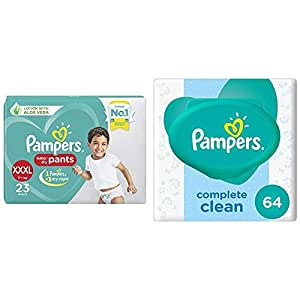 Pampers New Diaper Pants, XXX-Large (23 Count) & Pampers Fresh Clean Baby Wipes (64 Count)