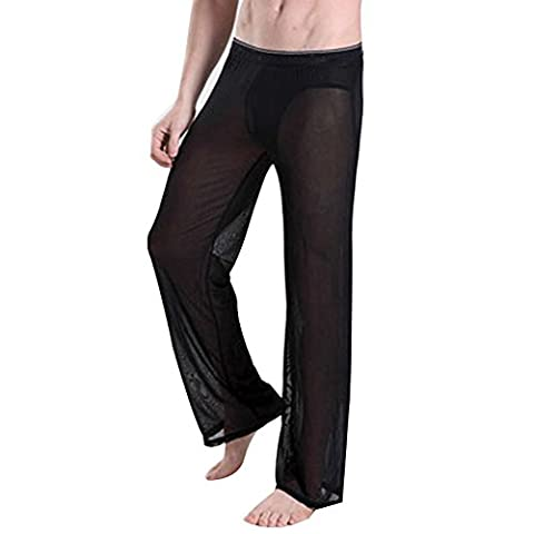 FEESHOW Men's Mesh See Through Homewear Lounge Pants Gym Trousers Nightwear Black