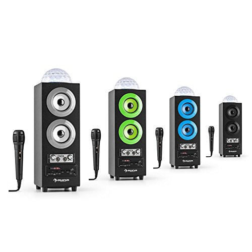 auna DiscoStar Blue • 2.1 Bluetooth-Lautsprecher • Radio • UKW-Radiotuner • 30 Speicherplätze • MP3 • SD • USB • Mini-USB • AUX • Mikrofon • LED-Lichteffekt • Akku • tragbar • blau - 9