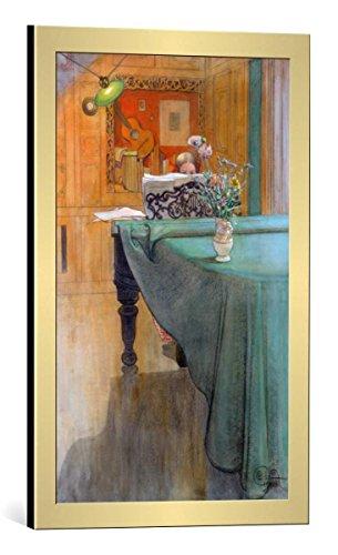 kunst für alle Bild mit Bilder-Rahmen: Carl Larsson Junges Mädchen am Klavier - dekorativer Kunstdruck, hochwertig gerahmt, 40x65 cm, Gold gebürstet -