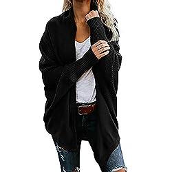 ESAILQ Damen Aus Der Schulter Lässig Gestrickt Lose Langarm Pullover(One Size,Schwarz)
