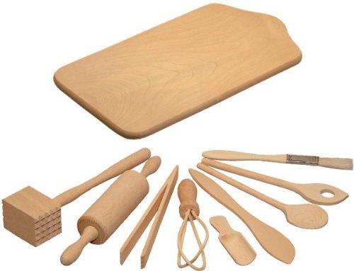 Preisvergleich Produktbild Hofmeister Holzwaren Koch- und Backset für Kinder, 9 Kleinteile und Brett