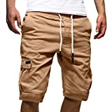 Tomwell Uomo Pantaloni Corti Bermuda Cargo Pantaloncini Uomo Cotone Lavoro Pantaloni Tasconi con Elastico Pantofole Estive Casual Pantaloncino Sportivi Cachi Medium