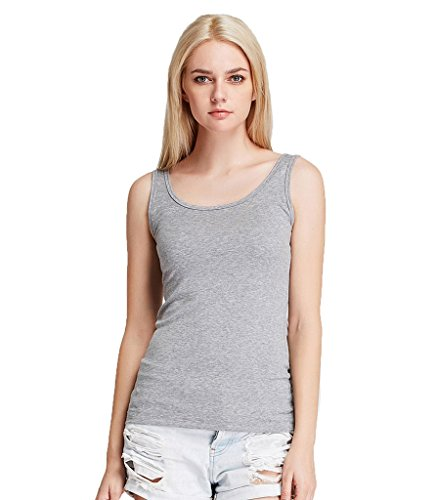 Liang Rou Women's Mini-Ribbed Stretchy Scoop Neck Tank Top