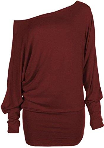Nuovo donna plus size lungo Batwing maniche spalla scoperta Baggy Tops 36–62 Vino