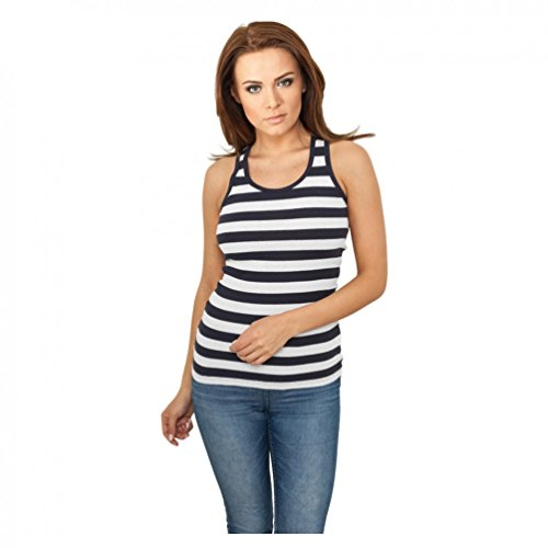 Ladies Stripe Tanktop Navy/White