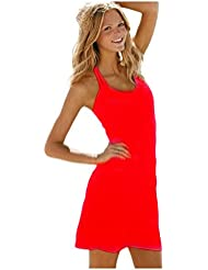 Ninimour Fashion - kurzes Strandkleid Bikini Cover (xl, rot)