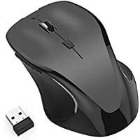 Usmain Wireless PC Mouse 2.4GHz Gaming Mouse with 3 Adjustable DPI Levels up to 1600 DPI, Laptop Mouse / Cordless Mouse with USB Nano Receiver - Black