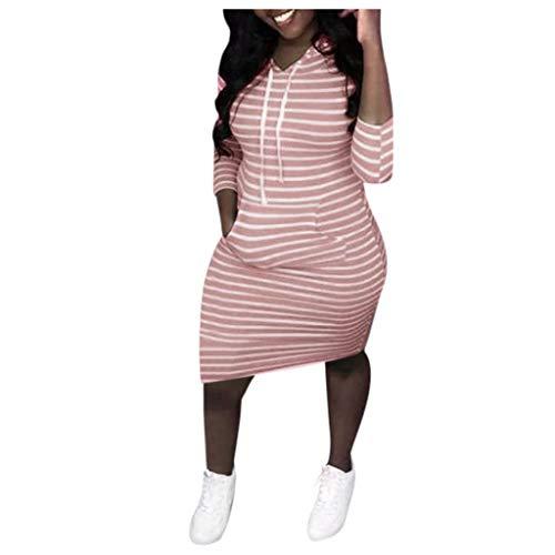 Rock Kostüm Star 1950's - Eternali Damen Oversize Klassisch Streifen Pulloverkleid Schlank Minikleid Clubwear für Frauen Hoodies mit Fronttasche Mode Patchwork Jersey Kleid Hoodie Sweatshirt Hoody Winterkleider