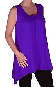 EyeCatch Plus - Lyra Frauen Stufenbarren Hem Langleine Damen Vest Top Purple...