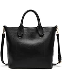 Women Top Handle Handbags Leather Satchel Shoulder Bags Urban Style Tote Purse Black By Melord