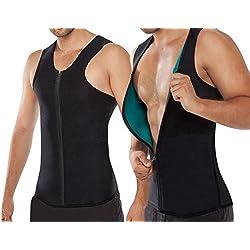 Chaleco Sauna Hombre NOVECASA Compresion de Neopreno Chaleco Modelador Camiseta Reductora para Adelgazante Sudoración Musculación con Cremallera (L, Chaleco Azul)