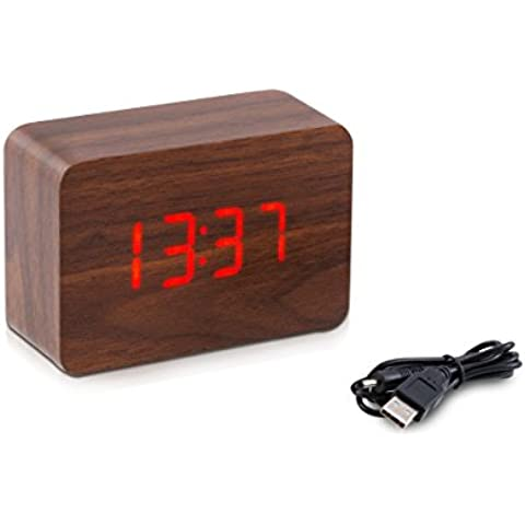 reloj despertador digital de madera de kwmobile con función de activación por ruido, indicador de temperatura y activación