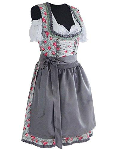 3tlg. Dirndl Damen Kleid A311, Grau, Gr. 42