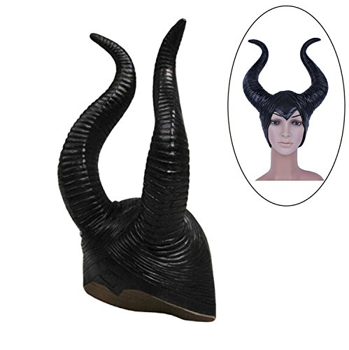 Hexehut Damen Horn Hut Cosplay Kopfschmuck Halloween Dekoration Schwarz Horns Hat Cosplay Headpiece Halloween Decoration Schwarz