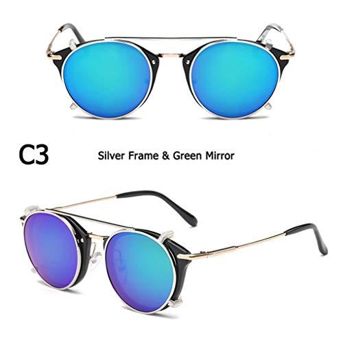 Mode SteamPunk-Stil Objektiv Abnehmbare Coole Sonnenbrille Clip Auf Vintage Brand Design Sonnenbrille Oculos De Sol (Lenses Color : C3)