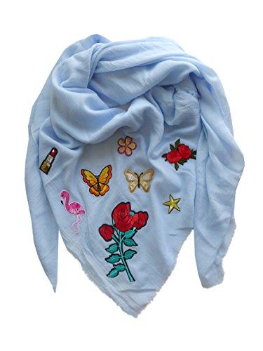 Toller Sommer Schal mit Patches Flamingo ~ hellblau ~ Halstuch Tuch Applikation