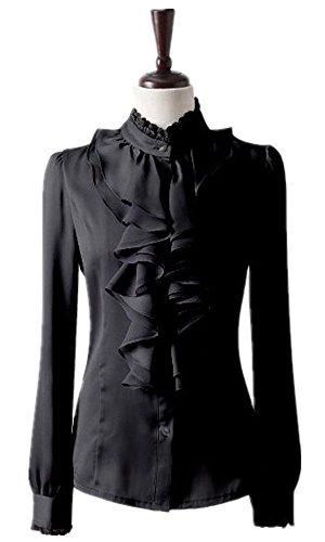 Nonbrand Ladies Ruffle Shirt Winter Long Sleeve Blouse Womens Satin Top  Office Dress ed0dad497