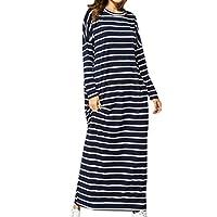 zhruiqun Women Islamic Loose Maxi Dress - Lady Plus Size Cotton Arabic Abaya Dubai Robe Kaftan Muslim (XL) Navy Blue