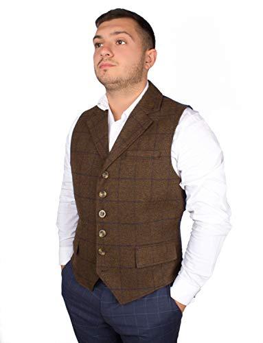 Kostüm Big Tall Und - Harvey Parker Herren-Weste Galloway, im Country-Stil, Karo-Muster, Tweed, für Jagd, Schießen, Reiten Gr. XXXL, braun