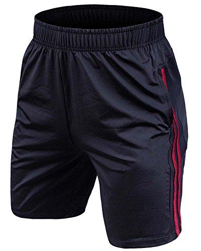 Pantaloncini da Ginnastica Uomo Pantaloni Corti Sportivi da Running con Tasche Vino Rosso