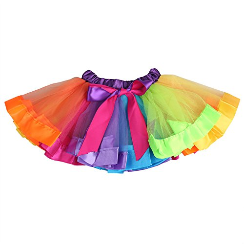 Baby Girl per feste e matrimoni, gonna a tutù Pettidress Mini, motivo: arcobaleno Arcobaleno small