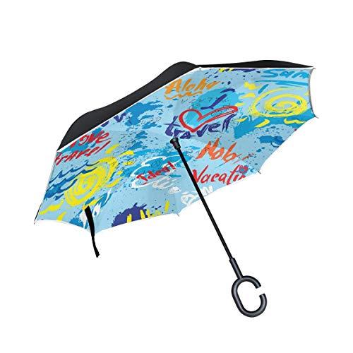 rodde Blots Ink Splashes und handgeschriebener Text Winddichte Regenschirme mit C-förmigem Griff Tabelle Reverse für Regen Outdoor Double Layer Inverted -