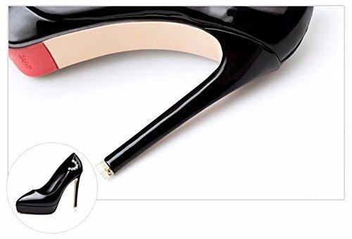 FLYRCX In autunno e in inverno, ha sottolineato il brevetto europeo il cuoio tacchi alti sexy donna moda scarpe con un bel party B