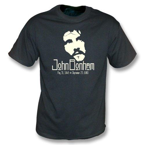La camiseta del lavado del vintage de John Bonham Tribute grande, colorea negro