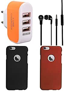 NIROSHA Cover Case Headphone Charger for Apple iPhone 6 - Combo