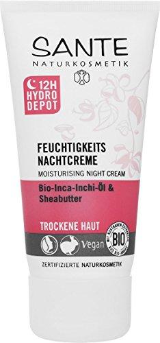 SANTE Naturkosmetik Feuchtigkeits Nachtcreme, Trockene Haut, Intensive Feuchtigkeit, Glättet...