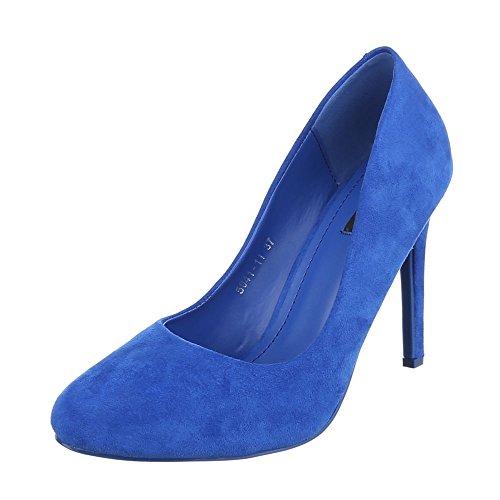 l Damen-Schuhe Plateau Pfennig-/Stilettoabsatz High Heels Pumps Blau, Gr 37, 5041-11- (Blaue Elf Kostüme)