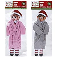 Elves Behavin Badly Elf Dressing Gowns Christmas Figure Elf on a Shelf Accessories 2 Assorted Colours (Grey Dressing Gown)